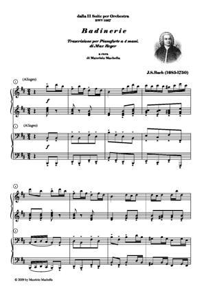 Sheet Music BADINERIE Trascrizione per Pianoforte a 4 mani