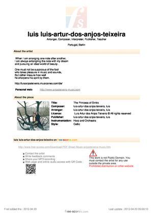 Sheet Music The Princess of Sintra