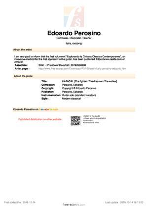 Sheet Music Edoardo Perosino - HATACAL