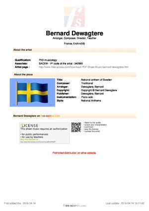 Sheet Music National anthem of Sweden
