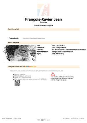 Sheet Music Folia, Opus 18, N.7