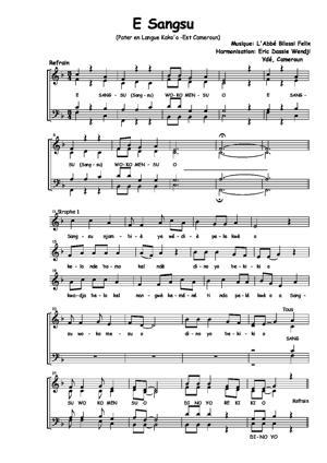 Sheet Music E Sangsu (Pater en langue Kako-Cameroun)