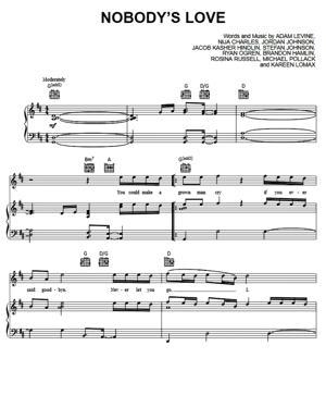 Sheet Music Maroon 5 - Nobody's Love