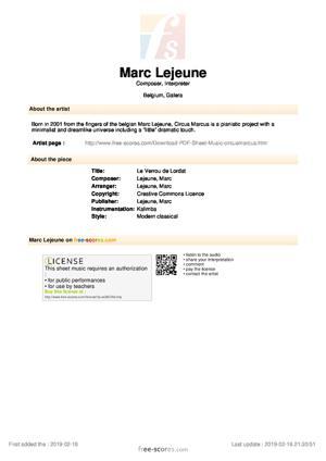 Sheet Music Le Verrou de Lordat