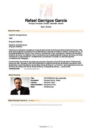 Sheet Music RETORNOS (for Sax ensemble)