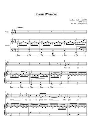 Sheet Music Jean Paul Egide Martini - Plaisir d'amour / The pleasure of love