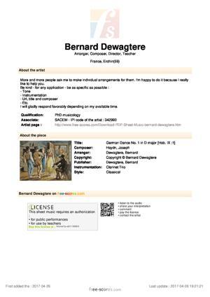 Sheet Music German Dance No. 1 in D major