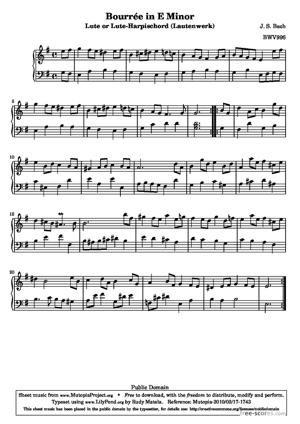Sheet Music Bourrée in E Minor