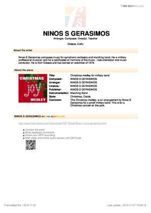 Sheet Music Christmas medley for military band