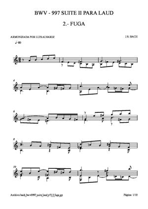 Sheet Music bach bwv0997 suite laud nº2 2 fuga
