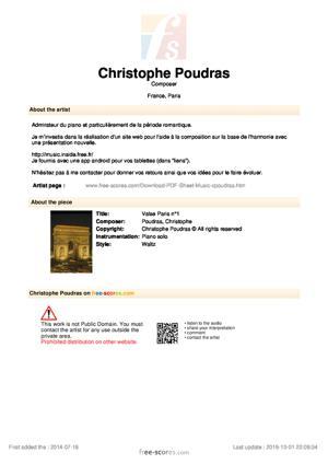 Sheet Music Valse Paris n°1