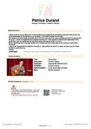 Sheet Music Cousu Main