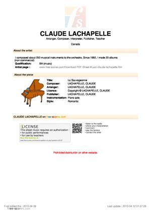 Sheet Music La Sauvageonne