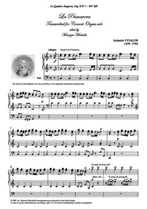 Sheet Music La Primavera. Transcribed for Concert Organ solo (complete)