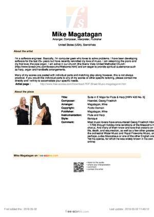 Sheet Music Suite in E Major for Flute & Harp