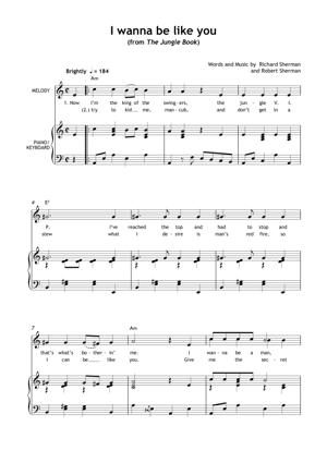 Sheet Music from The Jungle Book - I Wanna Be Like You