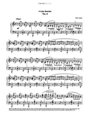 Sheet Music 4 Latin Sketches No. 4