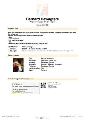 Sheet Music German dance in D