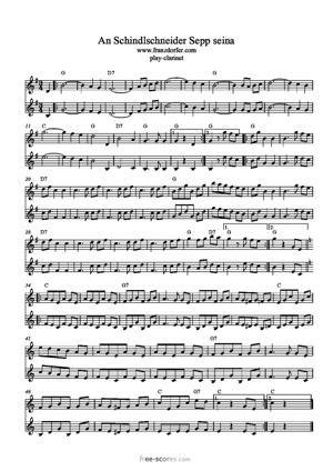 Sheet Music An Schindlschneida Sepp seina