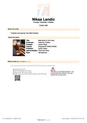 Sheet Music Bella porta di rubini (low)