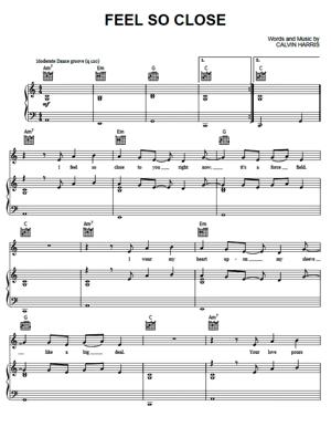 Sheet Music Calvin Harris - Feel So Close