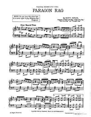 Sheet Music Paragon Rag