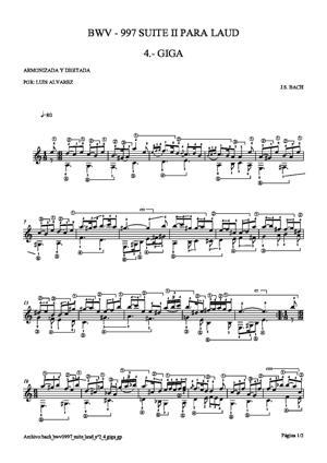 Sheet Music bach bwv0997 suite laud nº2 4 giga