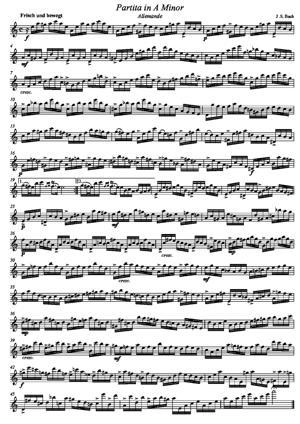 Sheet Music Partita in A Minor BMV 1013