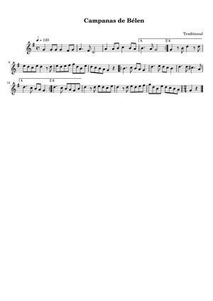 Sheet Music Traditional Spanish - Campanas de Belen