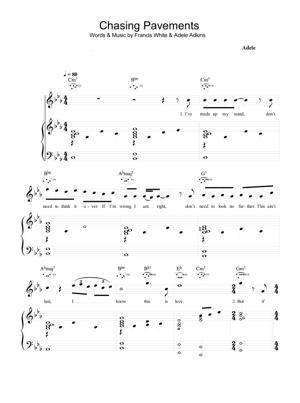 Sheet Music Adele - Chasing Pavements