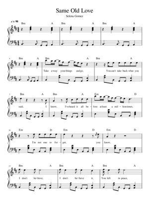 Sheet Music Selena Gomez - Same Old Love