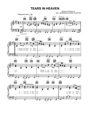 Sheet Music Eric Clapton - Tears In Heaven