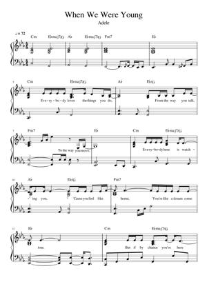Sheet Music Adele - When We Were Young
