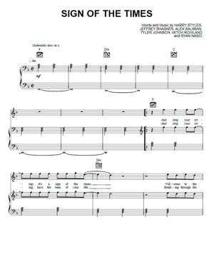 Sheet Music Harry Styles - Sign Of The Times