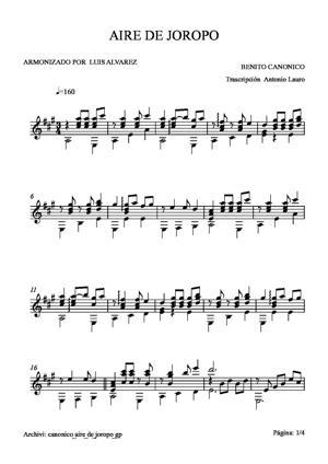 Sheet Music canonico aire de joropo