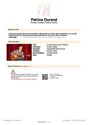 Sheet Music Tous les Roms vont en Chemins