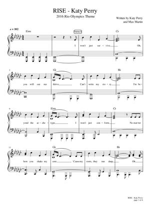 Sheet Music Katy Perry - Rise