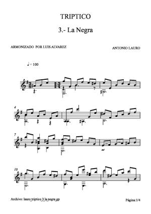 Sheet Music lauro triptico 3 la negra gp