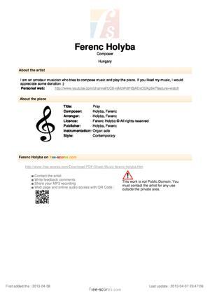 Sheet Music Pray