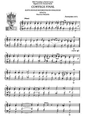 Sheet Music Cortege Finale - Suite de faux Bourdons en Dialogue (1557)