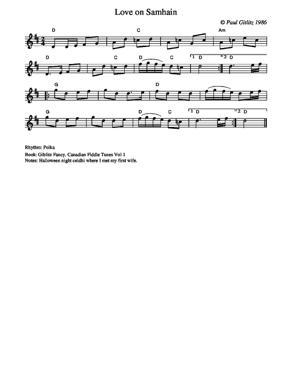 Sheet Music Love on Samhain