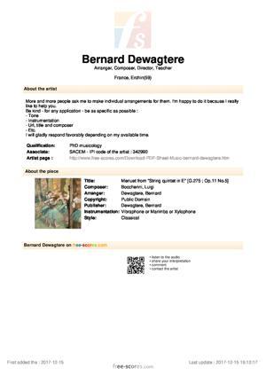 """Sheet Music Menuet from """"String quintet in E"""""""