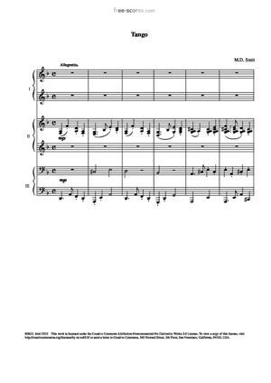 Sheet Music 'Petite Suite' for six hands. Part 1. Tango