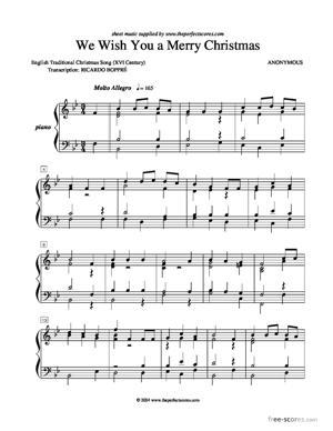 Sheet Music We Wish You a Merry Christmas