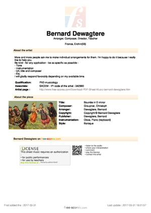 Sheet Music Bourrée in D minor