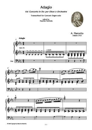 Sheet Music Adagio dal Concerto in Do minore per Oboe e Orchestra. Transcribed for Concert Organ solo