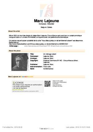 Sheet Music Un ménage volant