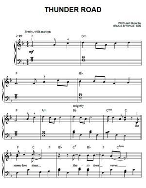 Sheet Music Bruce Springsteen - Thunder Road