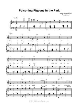 Sheet Music Tom Lehrer - Poisoning Pigeons In The Park