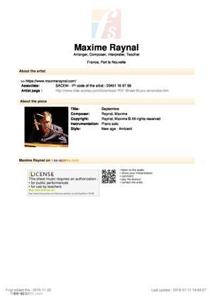 Sheet Music Maxime Raynal - Septembre